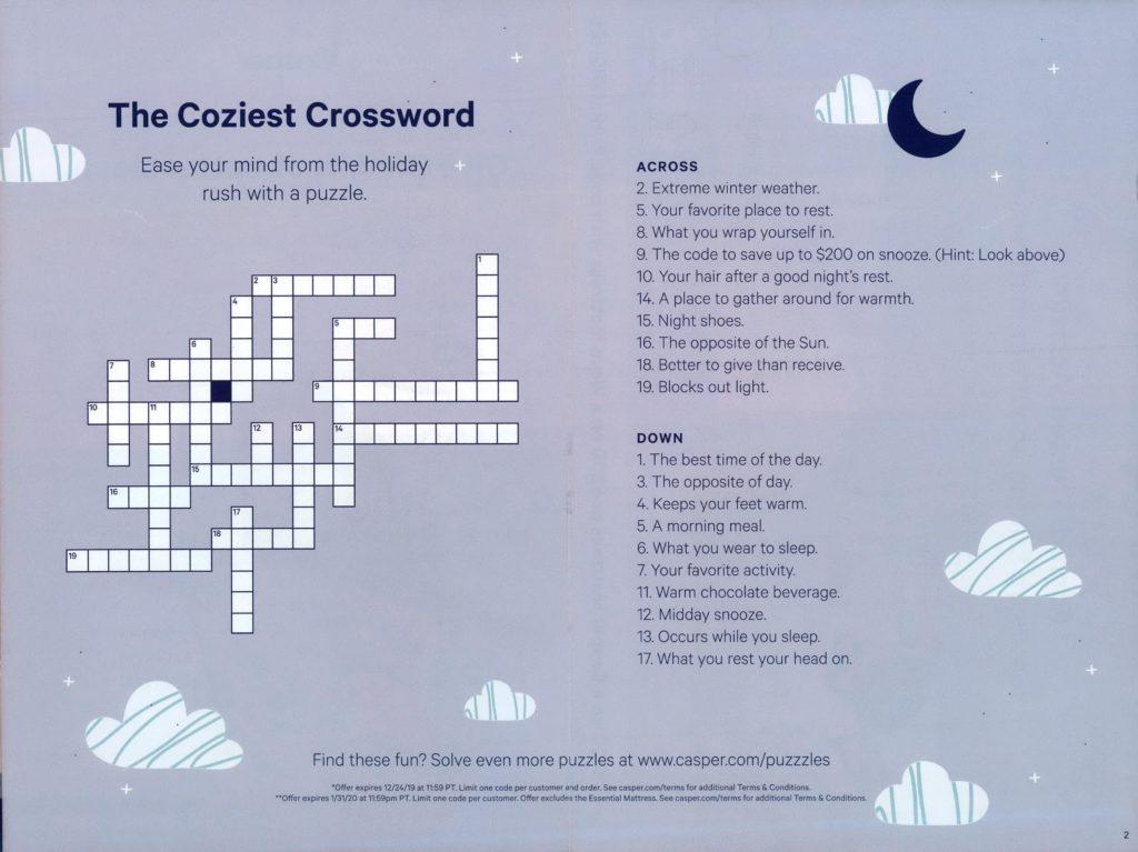 Casper direct mail, crossword puzzle