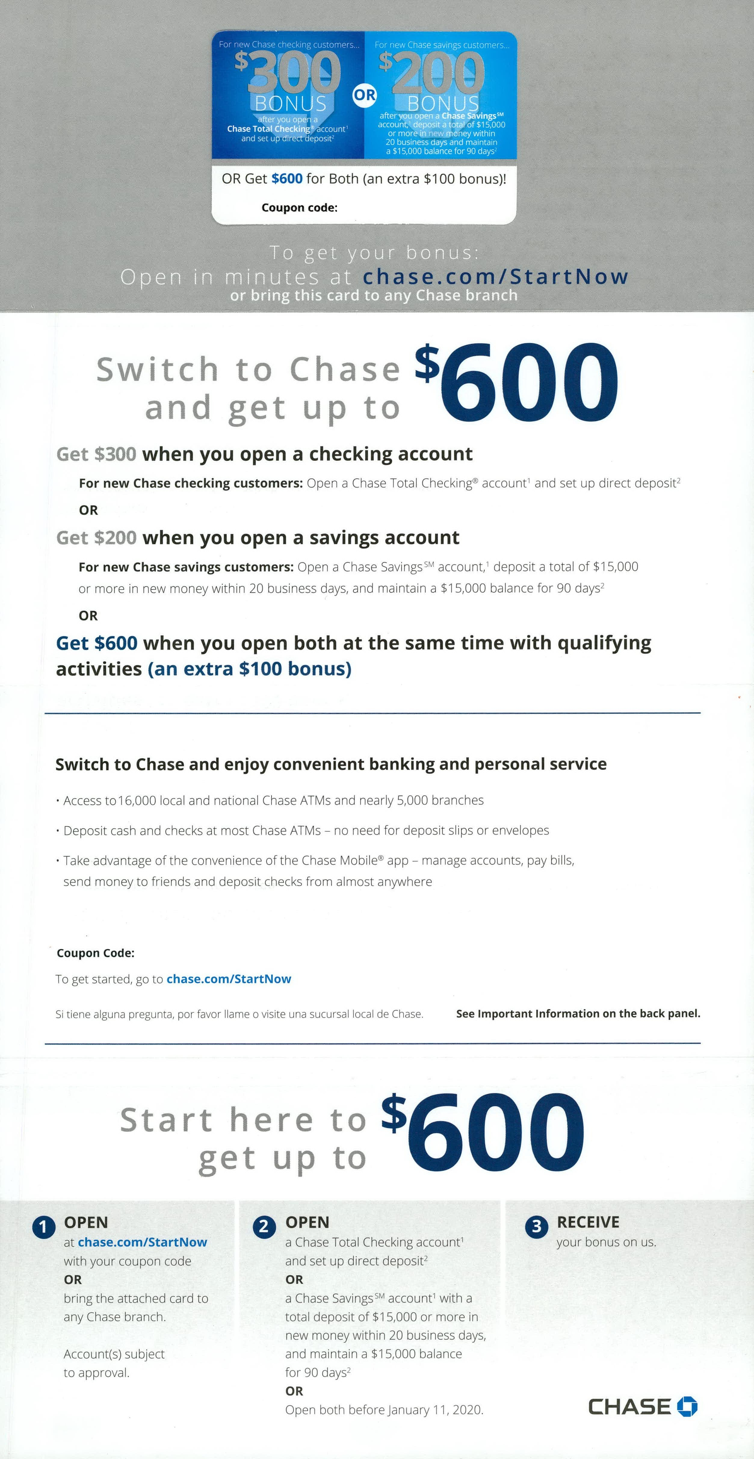 Chase banking direct mail