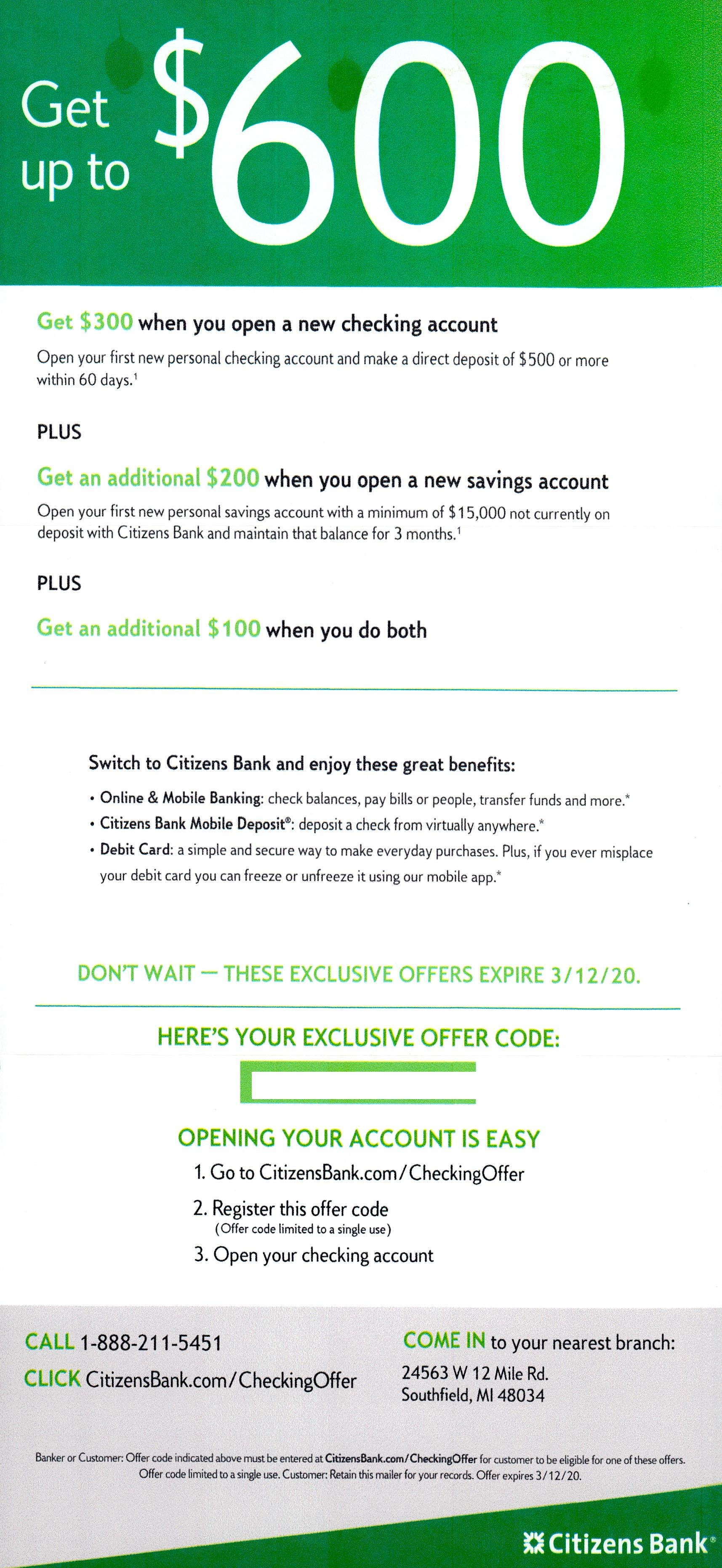 Citizens Bank bank direct mail